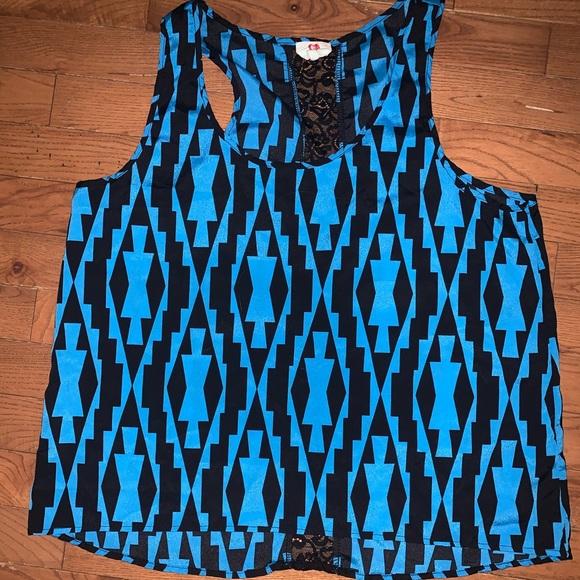 Lace back blue top - size L 🌷